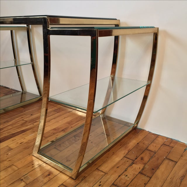 Rare Modernist Brass & Glass Desk or Console Table - Image 3 of 8