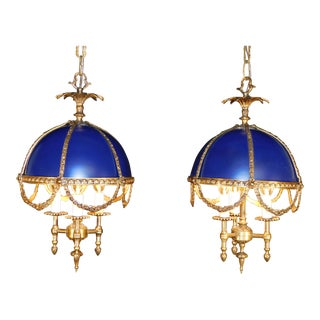 Antique French Imperial Blue Bouillotte Chandeliers - a Pair