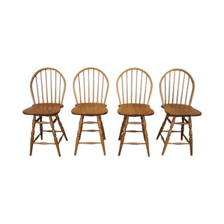 Athol Oak Windsor Counter Stools - Set of 4 For Sale