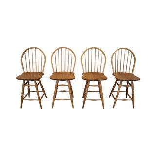 Athol Oak Windsor Counter Stools - Set of 4 For Sale