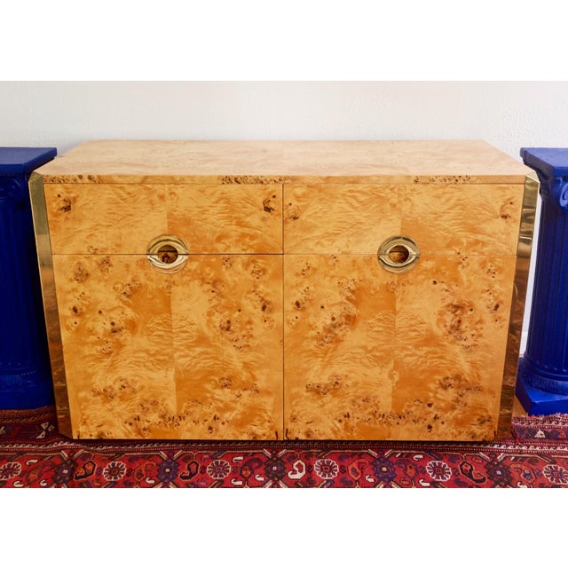 Burl Wood and Brass Credenza Sideboard Style of Pierre Cardin For Sale - Image 12 of 12
