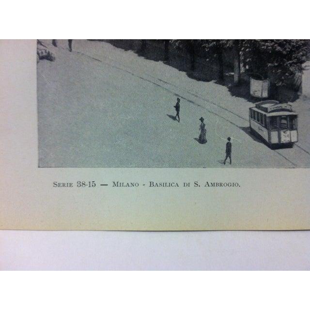 "Realism Circa 1930 ""Basilica Di S. Ambrogio"" Print of Milano Italy For Sale - Image 3 of 4"