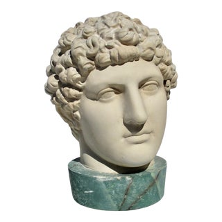 1980s Neoclassical Head of Greek Youth in Plaster Sculpture For Sale
