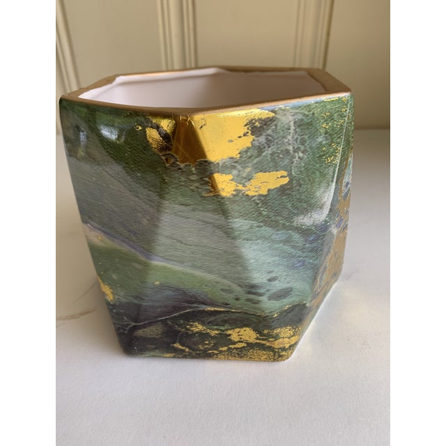 2010s Geometric Ceramic Pottery Plant Vessel or Vase For Sale - Image 5 of 9
