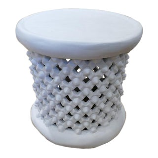 Bungalow 5 Round African Inspired White Side Table For Sale