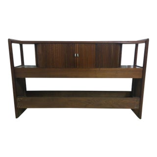 Drexel Vintage Mid-Century Full Size Tambour Headboard With Rails