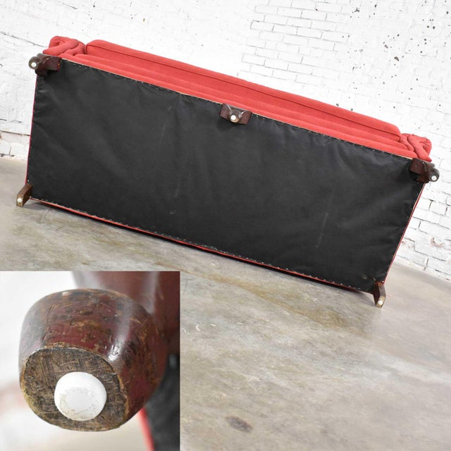 Red Smaller Size Lawson Sofa With Rolled Arms Down Bench Seat and Tight Back For Sale - Image 10 of 13