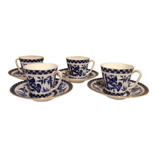 "Aesthetic Indigo Blue and White ""Japanese Grove"" Set of 4 Cups and Saucers For Sale"