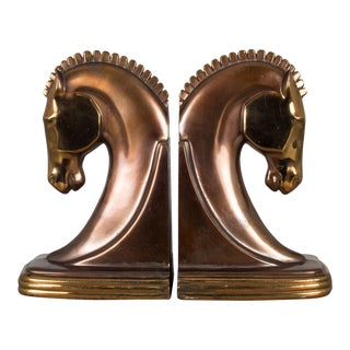 Bronze & Copper Plated Machine Age Trojan Horse Bookends by Dodge C.1930 For Sale