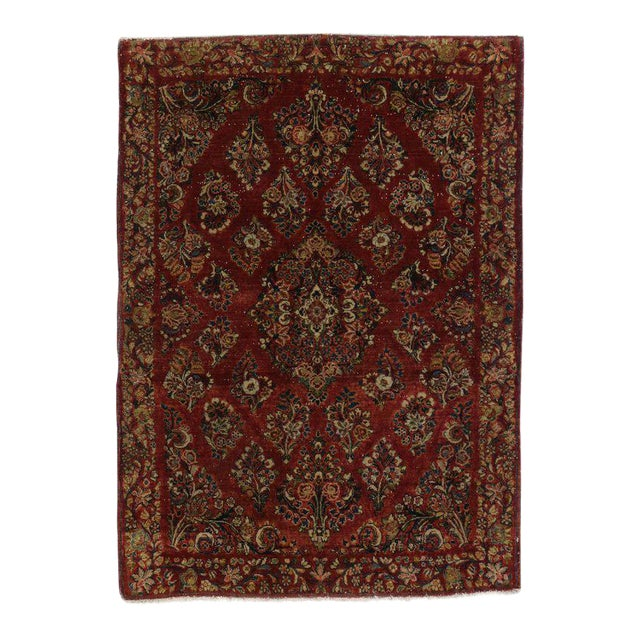 Antique Sarouk Persian Rug With Traditional Style - 03'04 X 04'08 For Sale