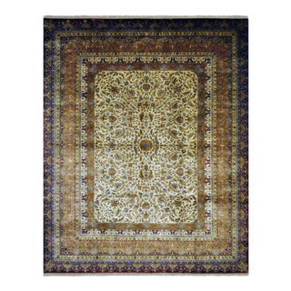 """Oriental Persian Farahan Design Hand Knotted Area Rug With Floral Motifs and Border - 8' X 9'9"""" For Sale"""
