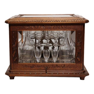 19th Century French Walnut Black Forest Cave a Liqueur
