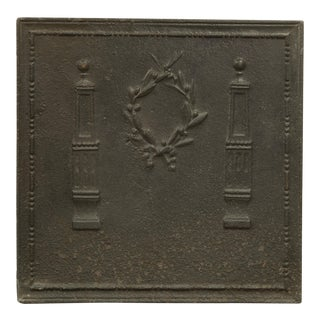 Fireback With Laurel Wreath Between Pillars, 19th Century For Sale
