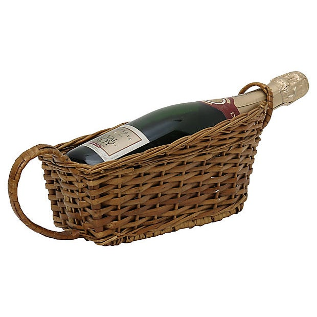 French bistro wicker wine pouring basket. No maker's mark. Light wear.