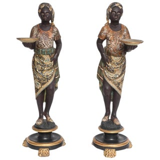 Polychromed Venetian Style Blackamoor Sculptures, Italy, 19th Century - a pair For Sale