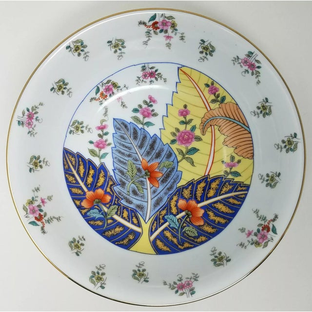 """1960s 1960s 9.5"""" Serving Bowl Chinoserie Tobacco Leaf Porcelain For Sale - Image 5 of 5"""