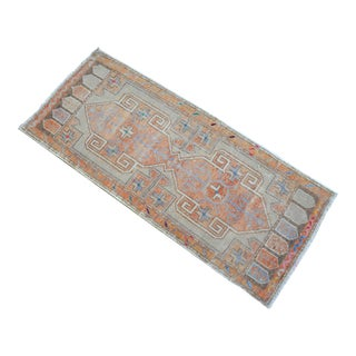 Low Pile Turkish Small Rug Hand Knotted Faded Entryway Mat Bath Rug - 1′8″ × 4′ For Sale