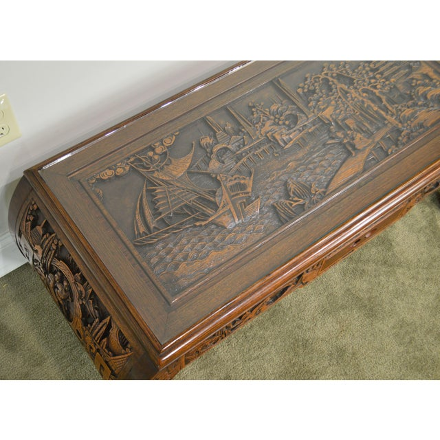 Vintage Oriental Asian Hand Carved Hardwood Coffee Table For Sale - Image 9 of 13