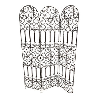 Hand-Forged Iron Three Panels Folding Moorish Screen For Sale