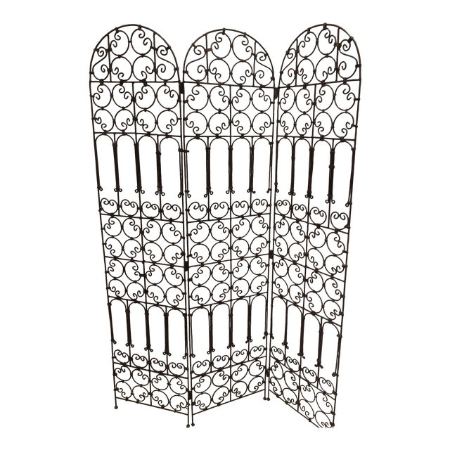 Hand-Forged Iron Three Panels Folding Moorish Screen For Sale