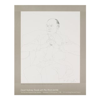 """David Hockney Sir John Gielgud 21.25"""" X 17"""" Lithograph Pop Art Black & White, White For Sale"""
