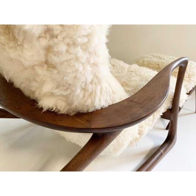 Animal Skin Vladimir Kagan Sculpted Rocking Chair and Ottoman in California Sheepskin For Sale - Image 7 of 9