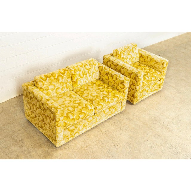 1970s Mid Century 1970s Yellow Loveseat and Lounge Chair For Sale - Image 5 of 12