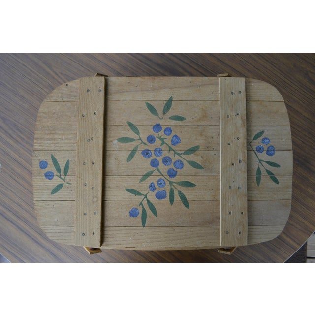 Americana Blueberry Wooden Picnic Basket For Sale - Image 3 of 8