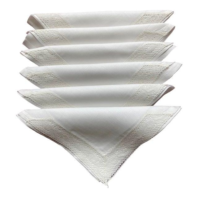 Vintage White Linen Cocktail Napkins- Set of 6 For Sale