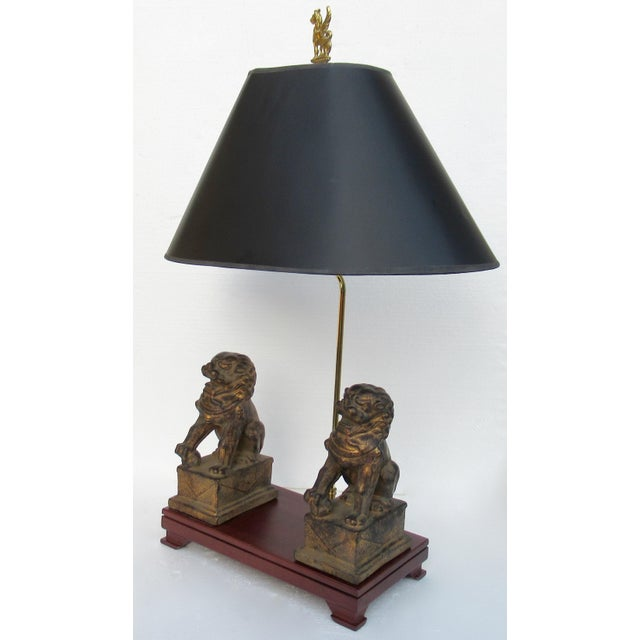 C.1970s-80s Vintage Asian, Chinoiserie-Style, Boho Chic Gilt Foo Dog Lamp For Sale - Image 13 of 13