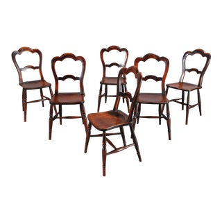 19th C. Country Chairs- Set of 6 For Sale