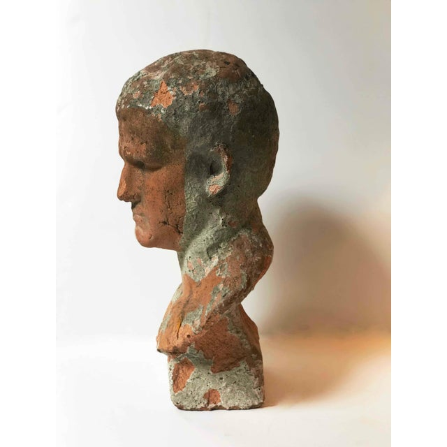 Mid-Century Modern Terra Cotta Bust of Man With Cement Remnants From France For Sale - Image 3 of 5