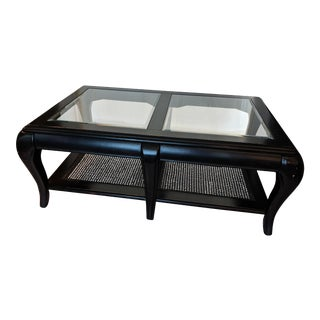 Large Distressed Black Cane & Glass Coffee Table