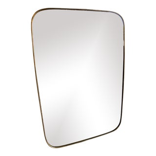 Italian Minimal Curvilinear Brass Mirror For Sale