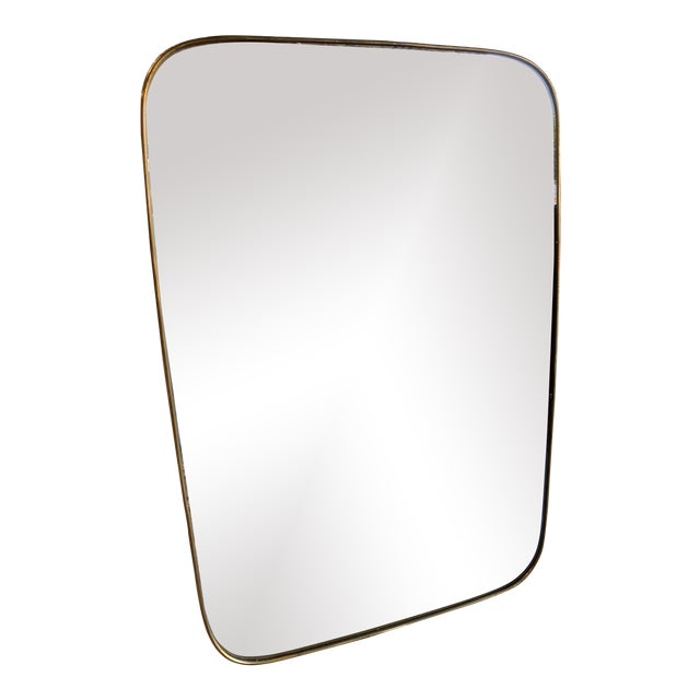 Italian Minimal Curvilinear Brass Mirror For Sale