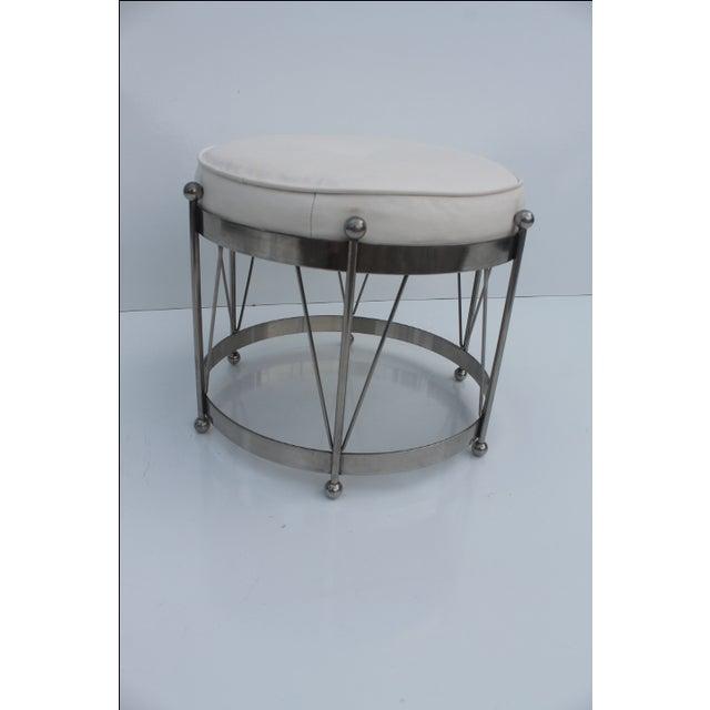 George Koch Mid-Century Vinyl & Chrome Drum Stool For Sale - Image 4 of 11