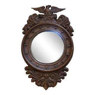 Vintage Metal Federal Style Convex Mirror For Sale