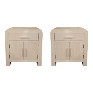 Vintage Pencil Reed Rattan Nightstands - a Pair For Sale