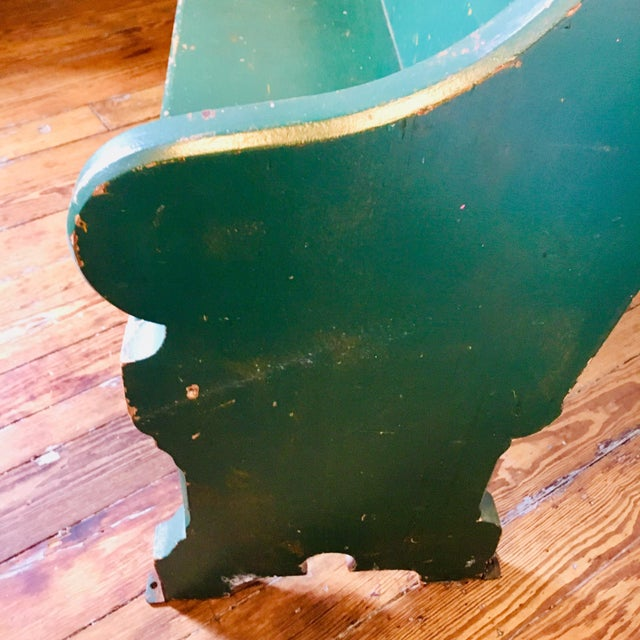 Victorian Late 19th Century Vintage Emerald Green Vernacular Gothic Pew For Sale - Image 3 of 11