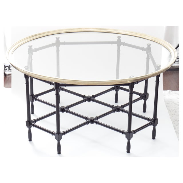Baker Furniture Company Baker Brass & Glass Faux Bamboo Coffee Table For Sale - Image 4 of 8