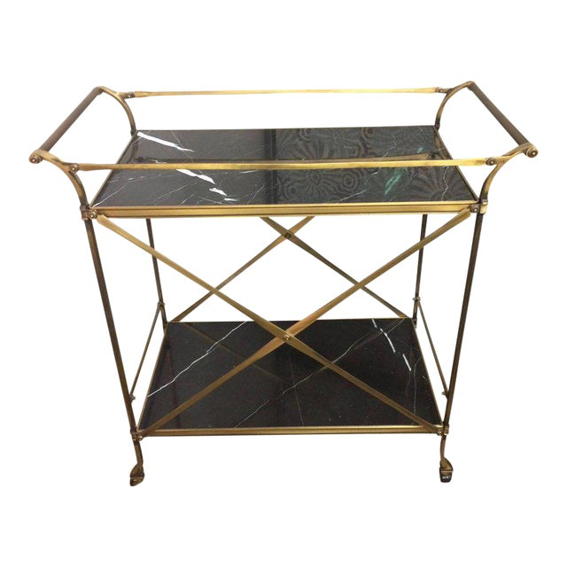 Mid Century Modern Brass & Marble Bar Cart - Image 1 of 9