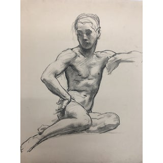 Vintage Mid-Century Charcoal Figure Study Drawing For Sale