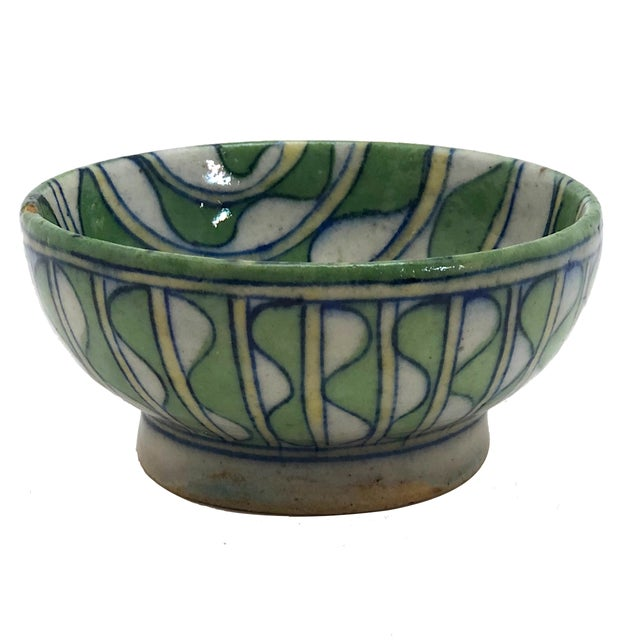Early 20th Century Green and White Patterned Tin Glazed Small Ceramic Bowl For Sale - Image 13 of 13