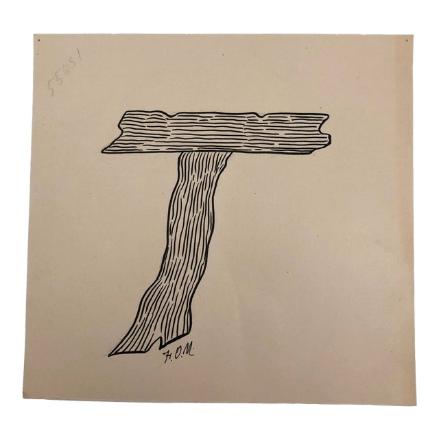 T for Tree Trunk Original Alphabet Ink Drawing For Sale