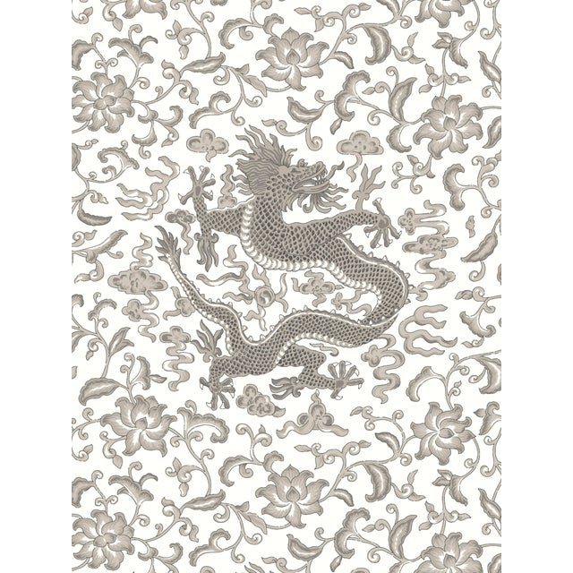 Red by Scalamandre Peel & Stick Wallpaper, Chi'en Dragon, Grey For Sale