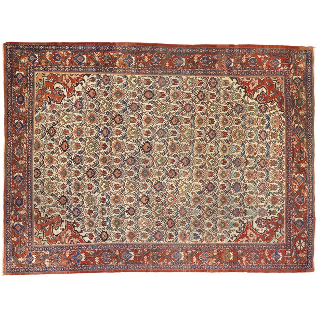 1920s Antique Persian Mahal Rug- 8′8″ × 11′7″ For Sale