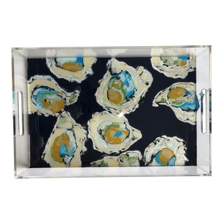 Scattered Oyster With Navy Background Fluid Acrylic Tray For Sale