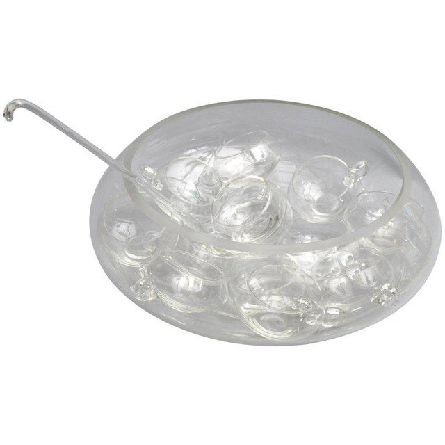 Transparent Cut Glass Punch Bowl Set of 14 From Italy For Sale - Image 8 of 8