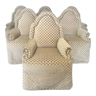 Diamond Pattern Beige Velvet Parsons Style Chairs - Set of 6 For Sale