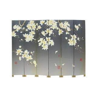Chinese Silver Oriental Blossom White Peony Flower Birds Graphic Screen For Sale